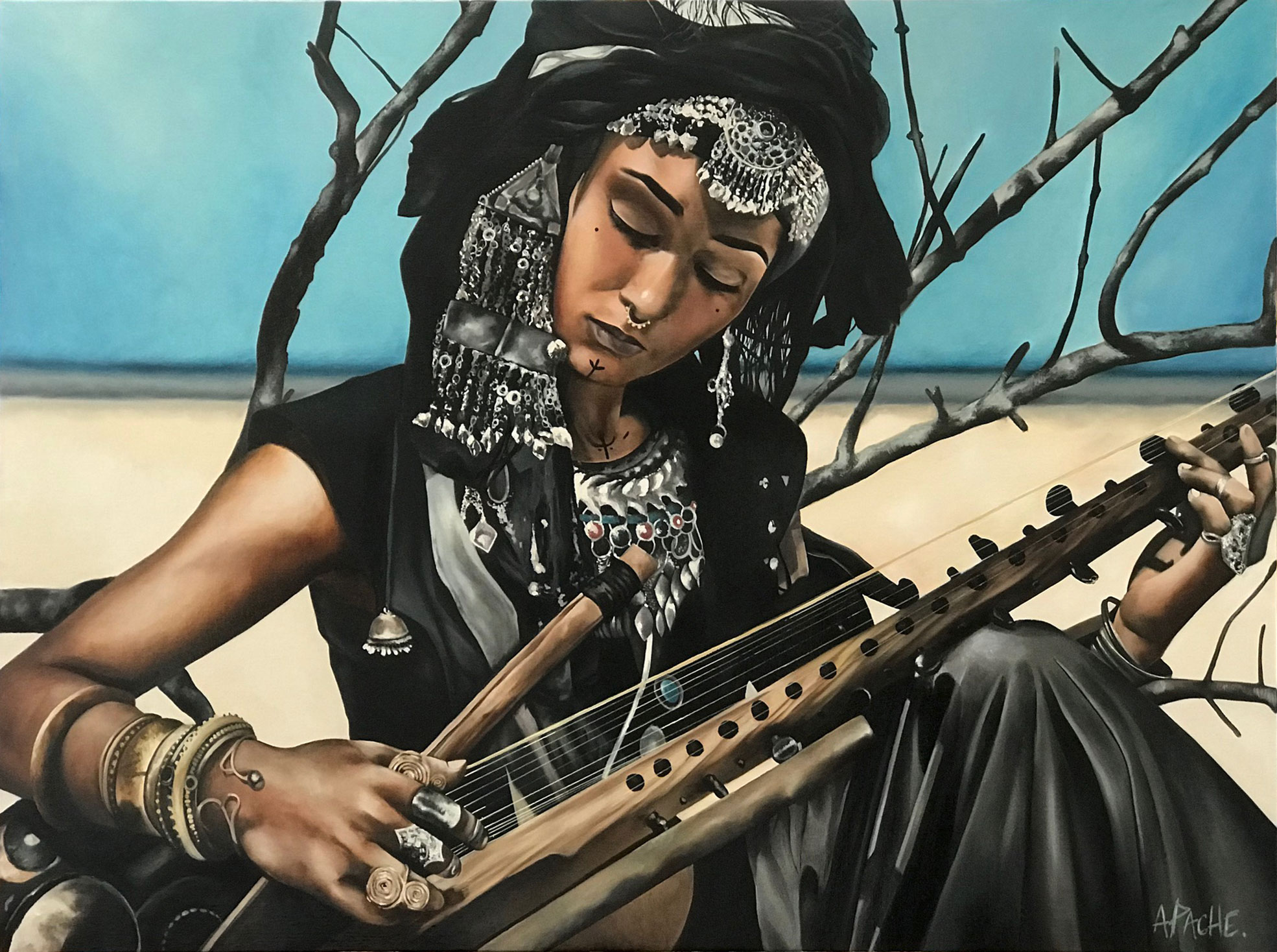 Tableau Berbère par Apache Artiste Peintre