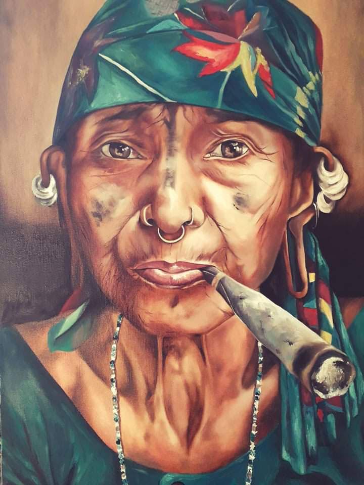 """Tableau """"Profite ma fille"""" de l'Artiste Peintre Apache"""