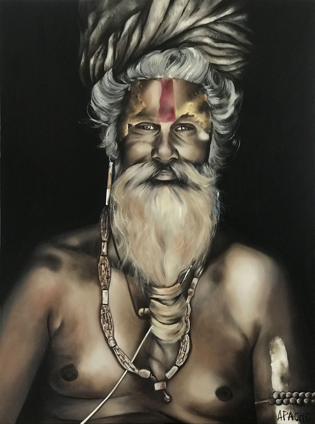 Tableau Sadhu par Apache Artiste Peintre