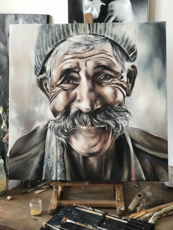 Tableau Sourire par l'Artiste Peintre Apache